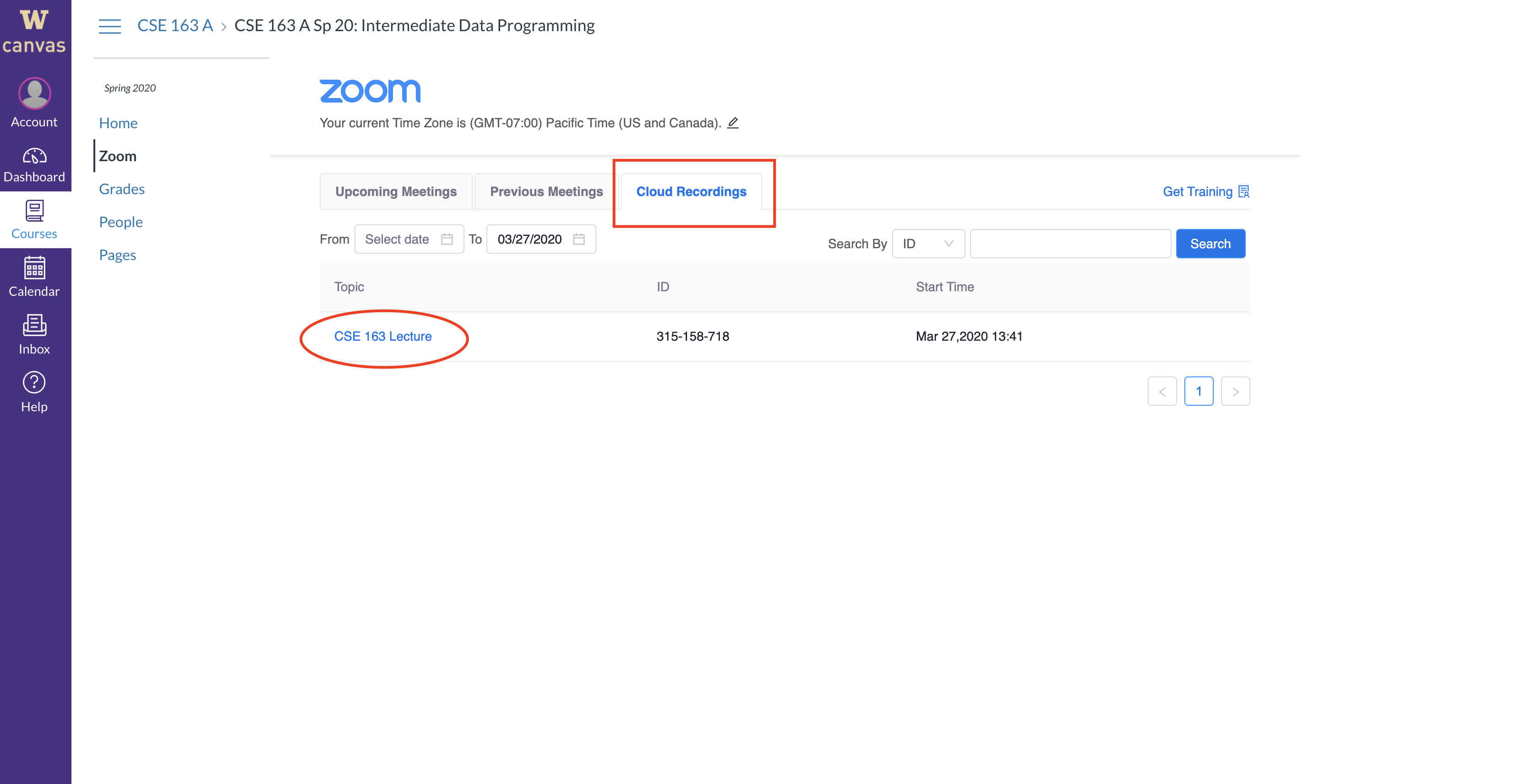 Showing the Cloud Recordings tab of Zoom in Canvas