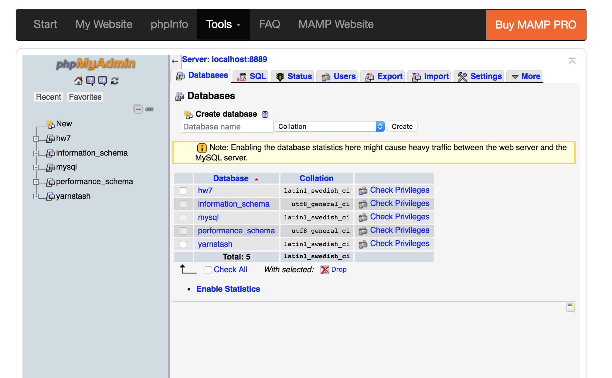 MAMP MYSQL