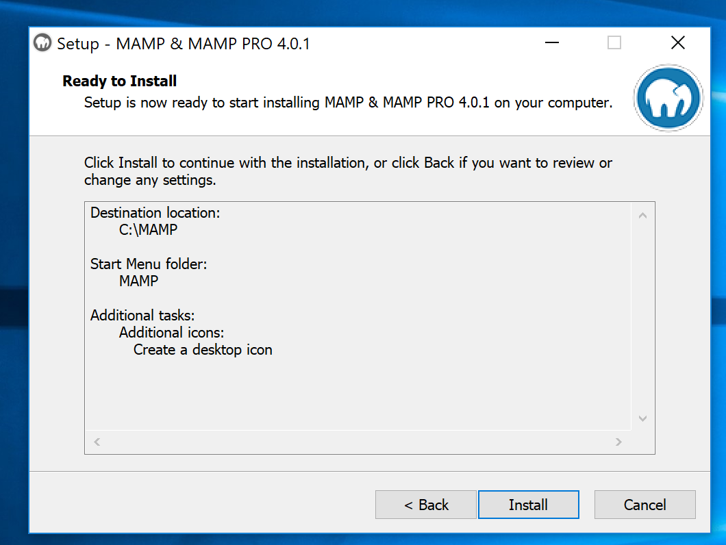 Windows MAMP Installation Instructions
