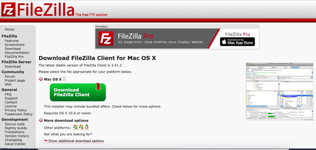 Installing Filezilla