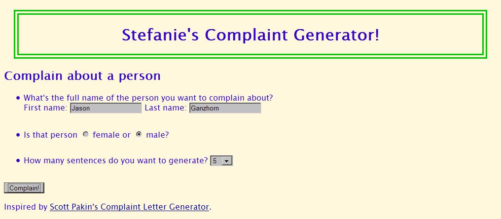 CSE 190 M Section 4 (Complaint Letter Generator)