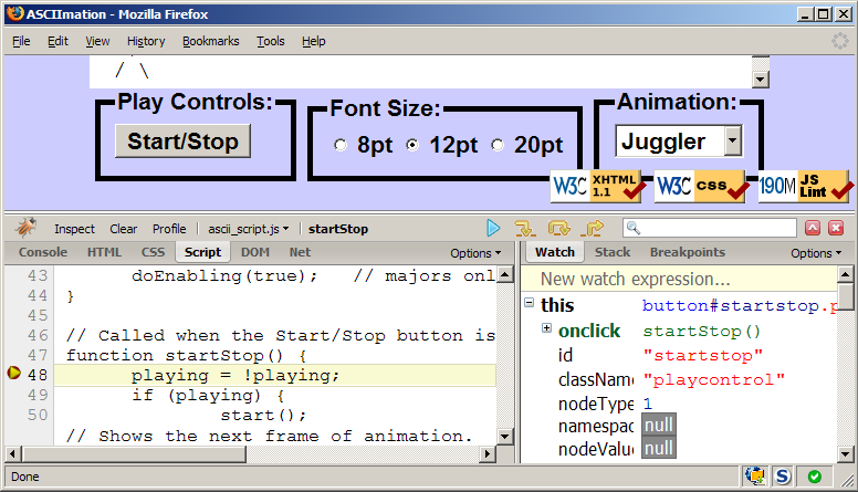 Web Programming Step by Step, JavaScript Debugging
