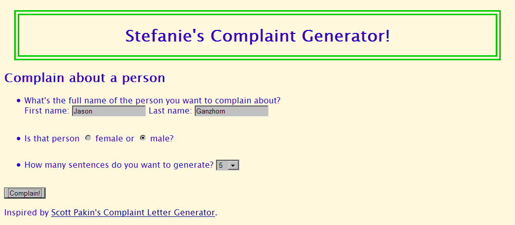 Cse 190 m section 4 complaint letter generator expected form output spiritdancerdesigns Gallery