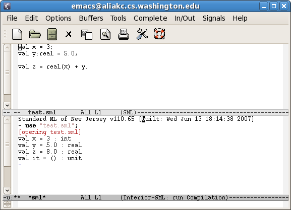 [GNU Emacs in sml-mode with a child SML process]