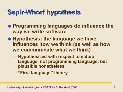 the sapir-whorf thesis The sapir-whorf hypothesis from george orwell's 1984 (1948): the purpose of newspeak was not only to provide a medium of expression for the world-view and mental.