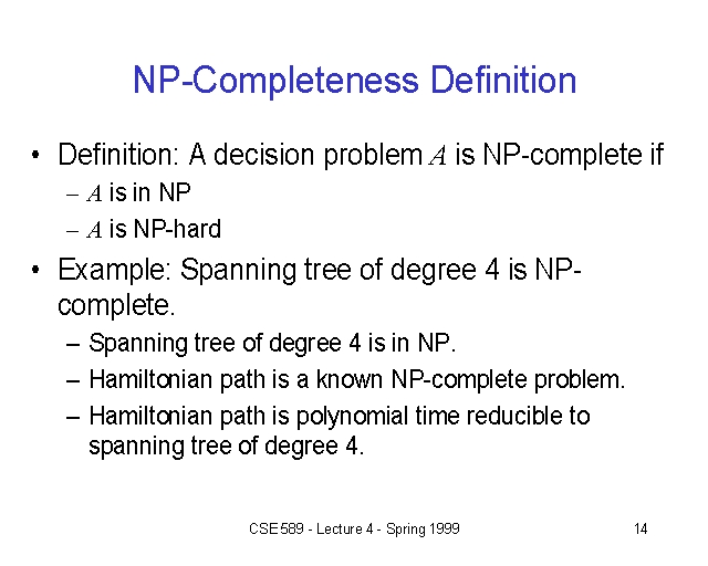 Np Completeness Definition