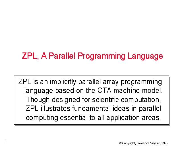 zpl a parallel programming language