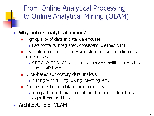 From Online Analytical Processing to Online Analytical
